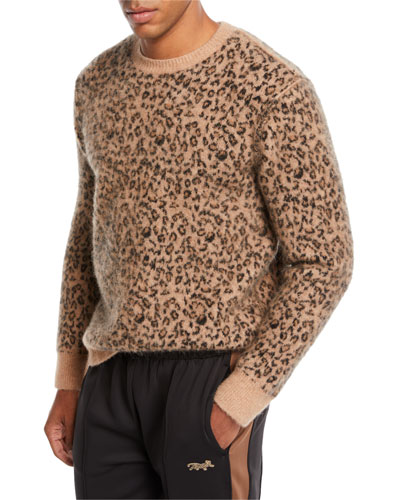 Men's Leopard Pattern Jacquard Crewneck Sweater