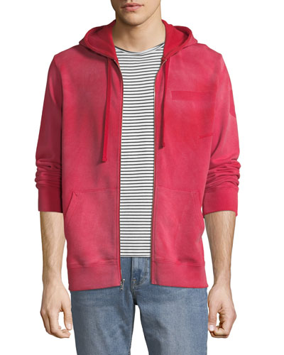 Men's Type-O1 Washed Jersey Zip-Front Hoodie, Red