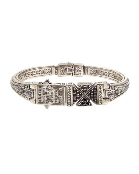 Konstantino Men's Stavros Black Spinel Cross Cuff Bracelet