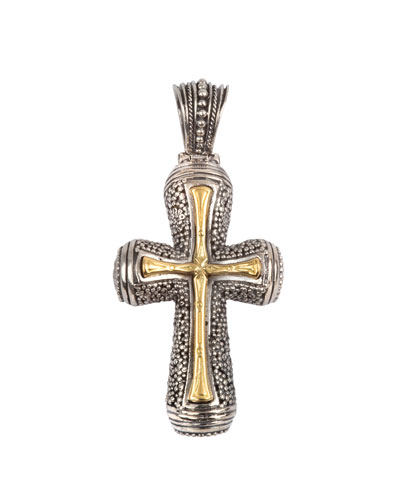 Men's Stavros 18k Gold Inset Cross Pendant