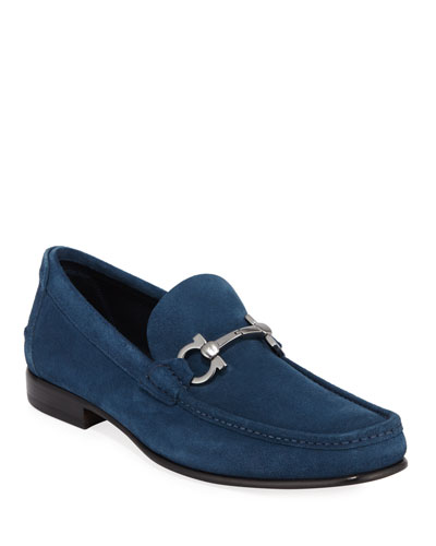 Men's Fiordi Suede Loafers with Gancini Bit