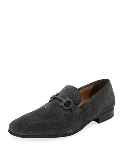 Men's Flori 2 Suede Gancini Loafers, Gray