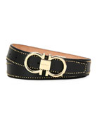 Salvatore Ferragamo Men's Leather Belt with Studs