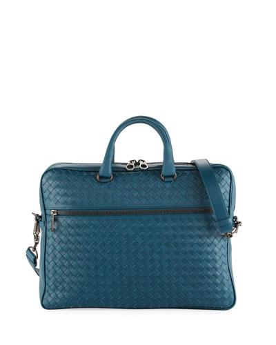 Men's Slim Woven Leather Briefcase