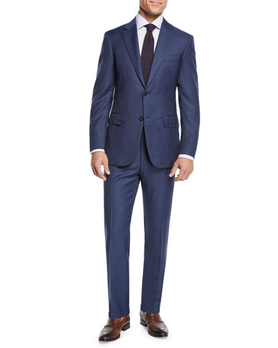 Men's Micro-Check Wool Two-Piece Suit