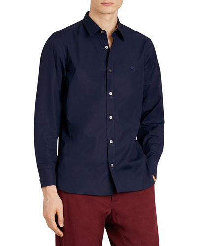 Men's William Long-Sleeve Woven Shirt with Check Detail