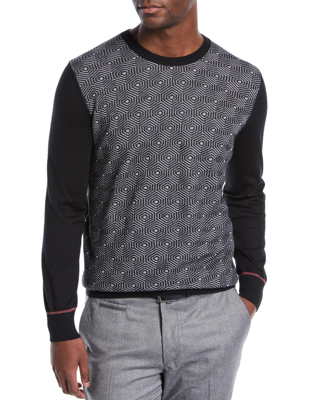 Stefano Ricci Sweaters MEN'S GEOMETRIC HEXAGON PRINT CREWNECK SWEATER