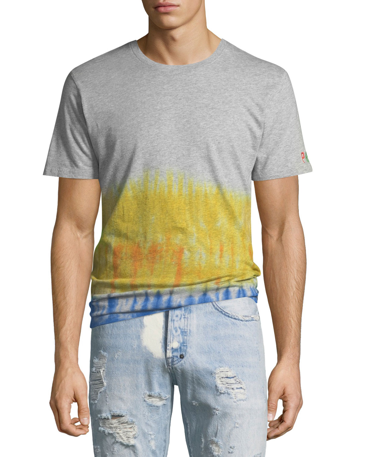 Men's Short Sleeve T With Tie-Dye Waist