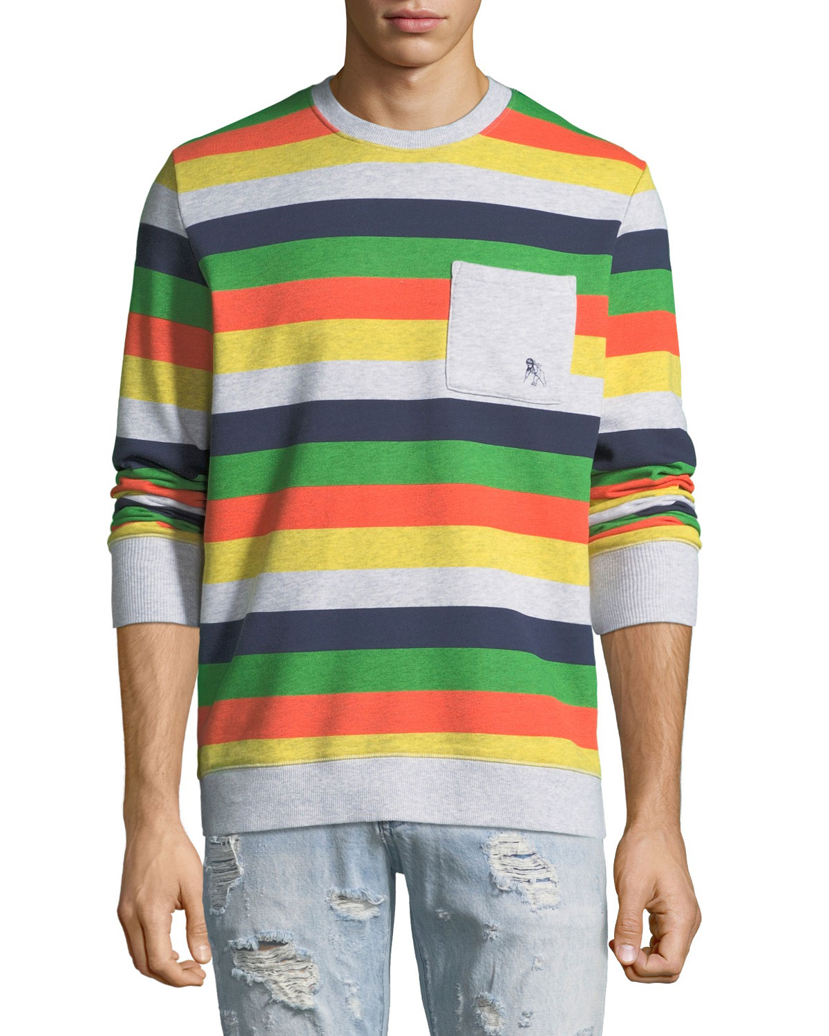 Men's Candy-Stripe Fleece Sweatshirt with Pocket