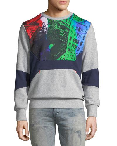 Men's Graphic Fleece Sweatshirt with Pocket