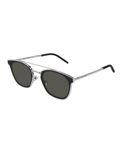 Men's Metal Flush-Lens Brow-Bar Sunglasses