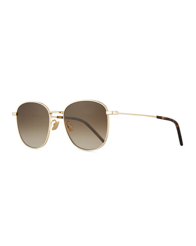 b6fac8160e Quick Look. Saint Laurent · Men s Square Metal Aviator Sunglasses with  Gradient Lenses