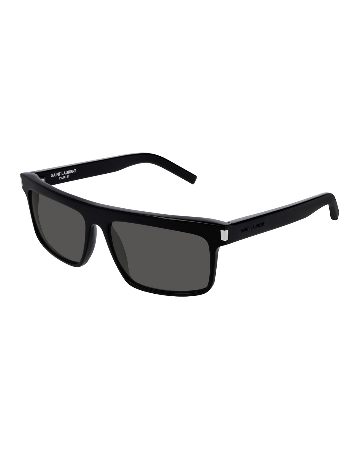 Men'S Flattop Rectangle Sunglasses With Mineral Glass Lenses in Black/ Black/ Smoke