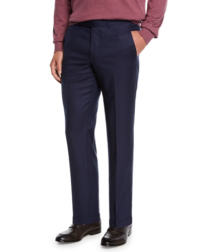 Men's Achill Wool-Silk Straight-Leg Pants, Navy