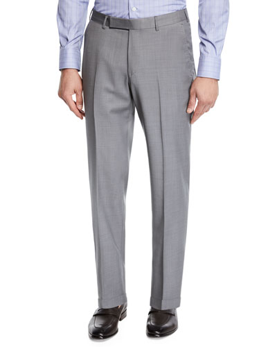 Men's Achill Wool-Silk Straight-Leg Pants, Gray