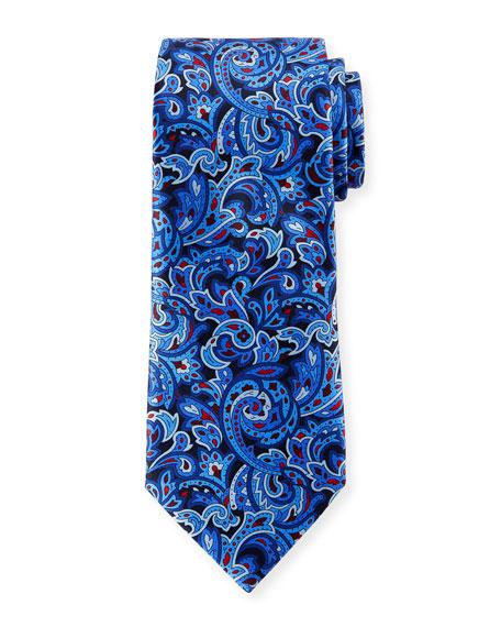 Ermenegildo Zegna Men's Medium-Scale Paisley Tie, Navy