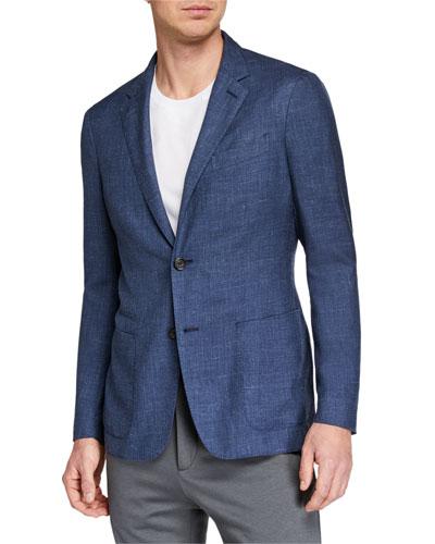 Men's Heathered Cashmere-Blend Two-Button Blazer