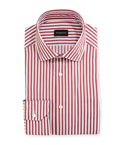 Men's Washed Bengal Striped Cotton Dress Shirt
