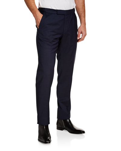 Men's Tic Stretch-Wool Flat-Front Trousers