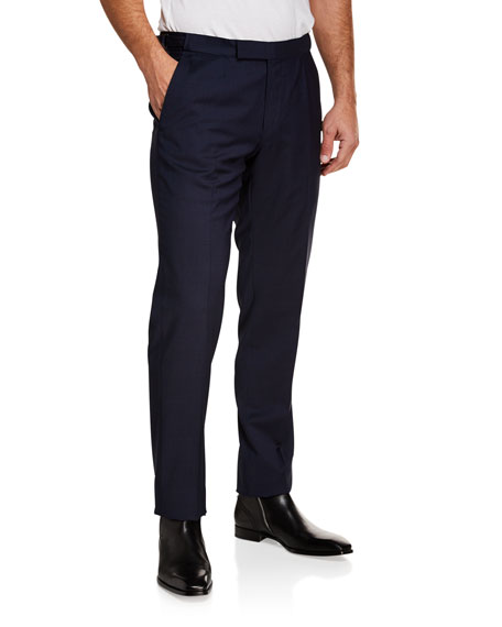 Ermenegildo Zegna Men's Tic Stretch-Wool Flat-Front Trousers