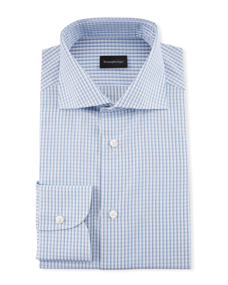 Ermenegildo Zegna Men's Cotton Graph Check Dress Shirt