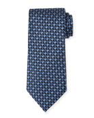 Ermenegildo Zegna Micro-Check Silk Tie, Light Blue/Navy