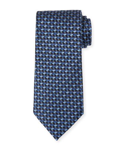 Micro-Check Silk Tie, Light Blue/Navy