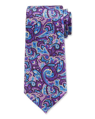 Men's Paisley Silk Tie, Purple