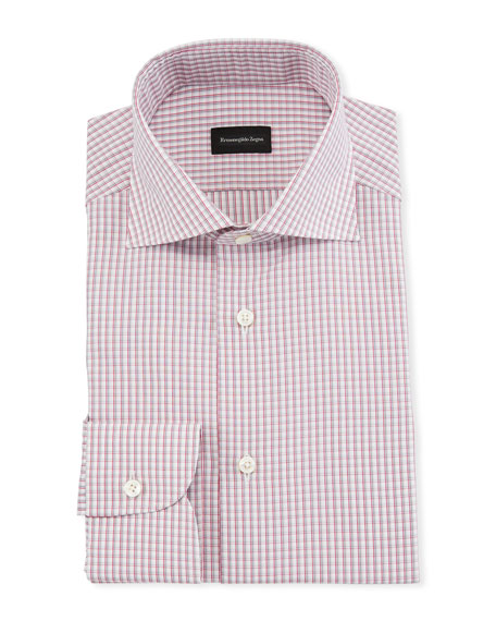 Ermenegildo Zegna Men's Graph Check Dress Shirt