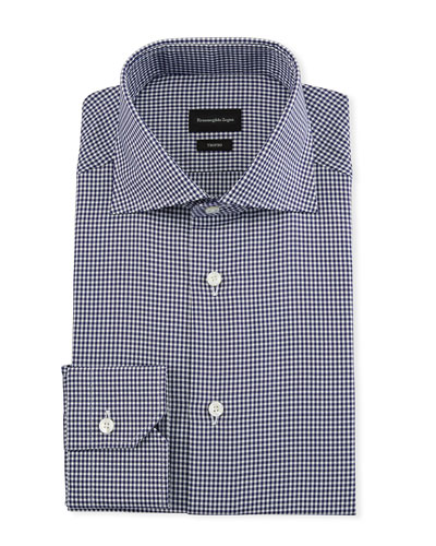 Men's Trofeo Cotton Gingham Check Dress Shirt