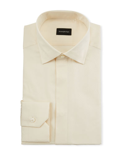 Men's Cotton/Silk Stitch-Bib Formal Shirt