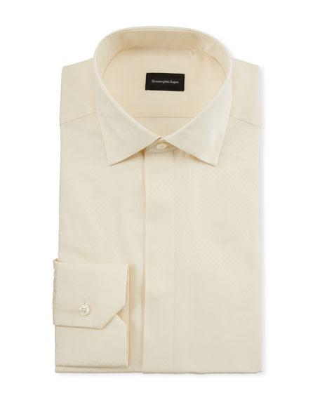 Ermenegildo Zegna Men's Cotton/Silk Stitch-Bib Formal Shirt
