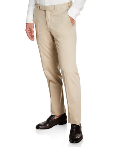 Men's Cotton Sateen Flat-Front Pants, Khaki