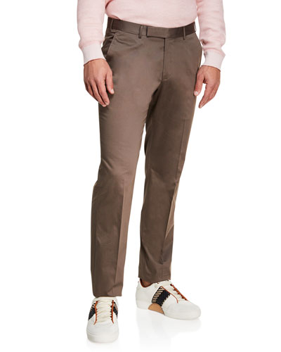 Men's Cotton Sateen Flat-Front Pants, Brown