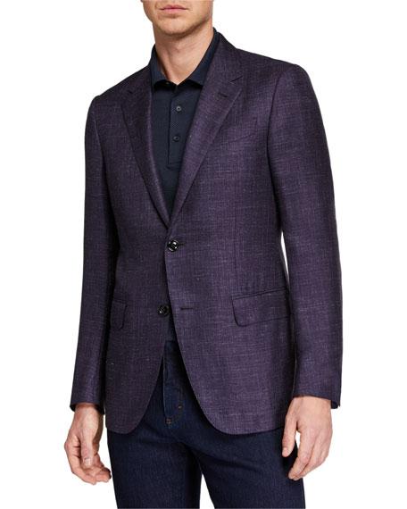 Ermenegildo Zegna Men's Regular-Fit Heathered Cashmere-Silk Blazer