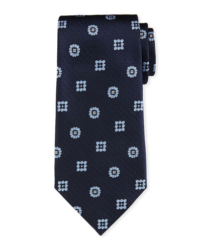 Silk Medallion-on-Jacquard Tie, Navy