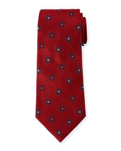 Silk Medallion-on-Jacquard Tie, Red