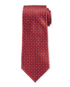 Ermenegildo Zegna Men's Alternating Diamonds Silk Tie, Red