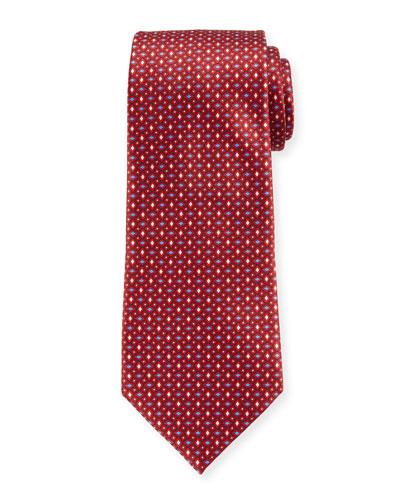 Men's Alternating Diamonds Silk Tie, Red