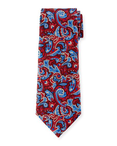 Ermenegildo Zegna Men's Medium-Scale Paisley Tie, Red
