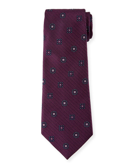 Ermenegildo Zegna Silk Medallion-on-Jacquard Tie, Purple