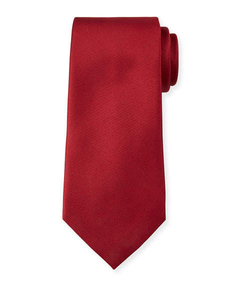 Ermenegildo Zegna Solid Silk Twill Tie, Red