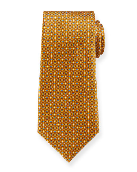 Ermenegildo Zegna Men's Alternating Diamonds Silk Tie, Yellow