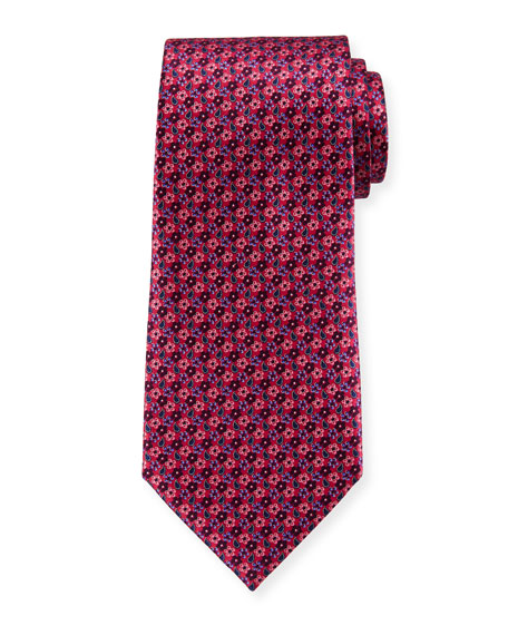 Ermenegildo Zegna Micro-Flowers Silk Tie, Pink