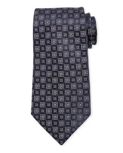 Jacquard Boxes Silk Tie, Navy