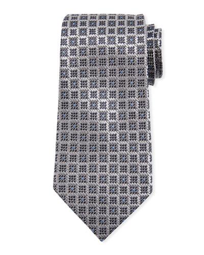 Jacquard Boxes Silk Tie, Gray
