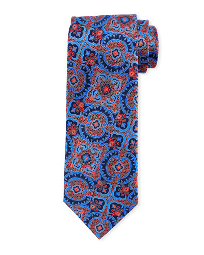 Medium Paisley Silk Tie, Red/Blue
