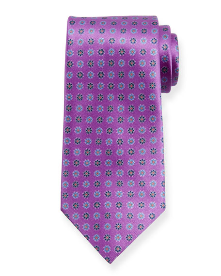 Ermenegildo Zegna Alternating Flowers Silk Tie, Purple