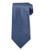 Ermenegildo Zegna Boxes and Circles Silk Tie, Navy