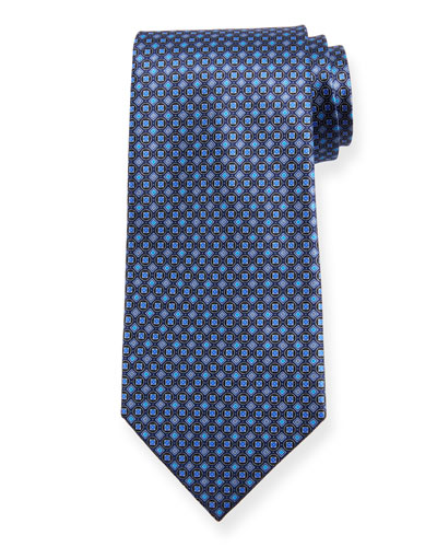 Boxes and Circles Silk Tie, Navy